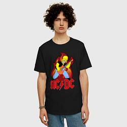 Мужская удлиненная футболка с принтом AC/DC Homer, цвет: черный, артикул: 10058696905753 — фото 2