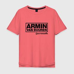 Мужская удлиненная футболка с принтом Armin van Buuren, цвет: коралловый, артикул: 10061383405753 — фото 1