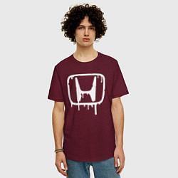 Мужская удлиненная футболка с принтом Honda, цвет: меланж-бордовый, артикул: 10066250605753 — фото 2