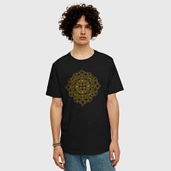 Футболка оверсайз мужская Золотой цветок цвета черный — фото 2