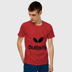 Футболка хлопковая мужская Butterfly Logo цвета красный — фото 2