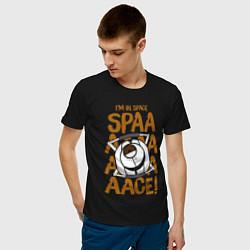 Футболка хлопковая мужская Space цвета черный — фото 2