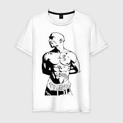Мужская хлопковая футболка с принтом 2pac, цвет: белый, артикул: 10010672500001 — фото 1