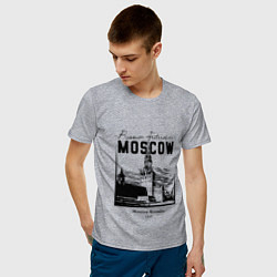 Футболка хлопковая мужская Moscow Kremlin 1147 цвета меланж — фото 2
