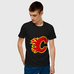 Футболка хлопковая мужская Calgary Flames цвета черный — фото 2