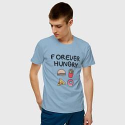 Футболка хлопковая мужская Forever Hungry цвета мягкое небо — фото 2
