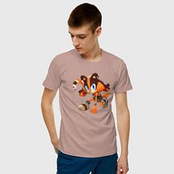 Футболка хлопковая мужская Барсучиха Стикс цвета пыльно-розовый — фото 2
