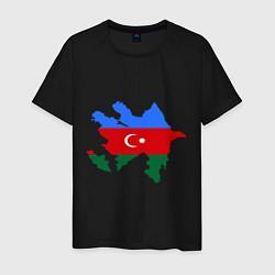 Футболка хлопковая мужская Azerbaijan map цвета черный — фото 1