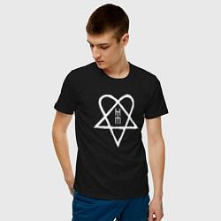 Футболка хлопковая мужская HIM: Heartagram цвета черный — фото 2