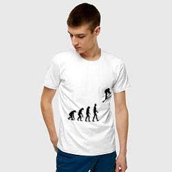 Футболка хлопковая мужская Эволюция лыжник цвета белый — фото 2