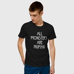 Футболка хлопковая мужская All Monsters Are Human цвета черный — фото 2