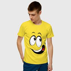 Футболка хлопковая мужская Смайл01 цвета желтый — фото 2