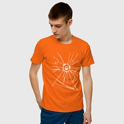 Футболка хлопковая мужская Mirror Smile цвета оранжевый — фото 2