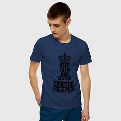 Футболка хлопковая мужская Keep Calm & Listen Suicide Silence цвета тёмно-синий — фото 2