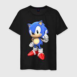 Футболка хлопковая мужская Classic Sonic цвета черный — фото 1