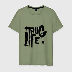 Мужская хлопковая футболка с принтом Thug Life, цвет: авокадо, артикул: 10145997900001 — фото 1
