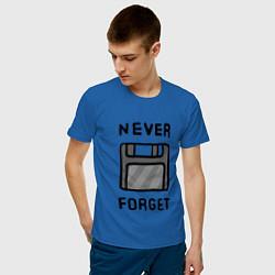 Футболка хлопковая мужская Never Forget цвета синий — фото 2