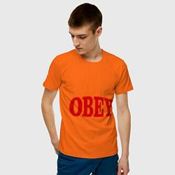 Футболка хлопковая мужская OBEY цвета оранжевый — фото 2