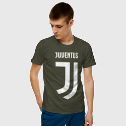 Футболка хлопковая мужская FC Juventus цвета меланж-хаки — фото 2