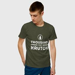 Футболка хлопковая мужская Thousand Foot Krutch цвета меланж-хаки — фото 2