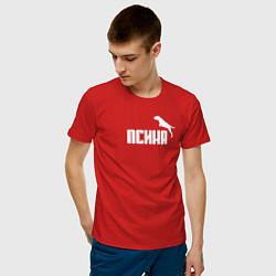 Футболка хлопковая мужская Псина-пума цвета красный — фото 2