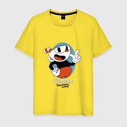 Футболка хлопковая мужская Cuphead Mugman цвета желтый — фото 1