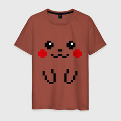Мужская хлопковая футболка с принтом Bit Pikachu, цвет: кирпичный, артикул: 10015632200001 — фото 1