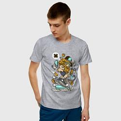 Футболка хлопковая мужская Хипстер на самокате цвета меланж — фото 2
