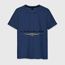 Футболка хлопковая мужская Chrysler logo цвета тёмно-синий — фото 1