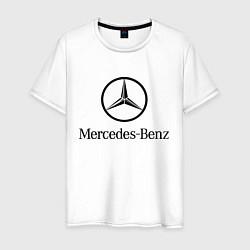 Мужская хлопковая футболка с принтом Logo Mercedes-Benz, цвет: белый, артикул: 10015734800001 — фото 1