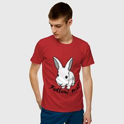 Мужская хлопковая футболка с принтом Rabbit: follow me, цвет: красный, артикул: 10015749200001 — фото 2