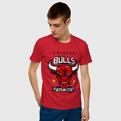 Футболка хлопковая мужская Chicago Bulls est. 1966 цвета красный — фото 2
