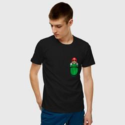 Футболка хлопковая мужская Марио в кармане цвета черный — фото 2