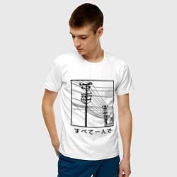 Футболка хлопковая мужская Японские электросети цвета белый — фото 2