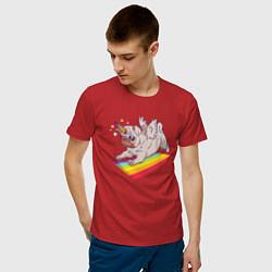 Футболка хлопковая мужская Мопс-единорог цвета красный — фото 2