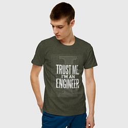 Футболка хлопковая мужская I'm an Engineer цвета меланж-хаки — фото 2
