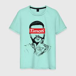 Футболка хлопковая мужская Timati Supreme цвета мятный — фото 1