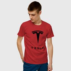 Футболка хлопковая мужская TESLA Mobile цвета красный — фото 2