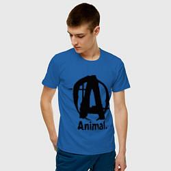Футболка хлопковая мужская Animal Logo цвета синий — фото 2