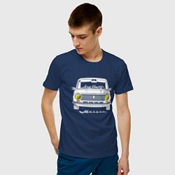 Футболка хлопковая мужская Жигули 2101 цвета тёмно-синий — фото 2