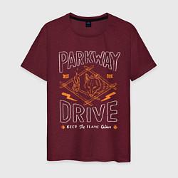 Футболка хлопковая мужская Parkway Drive: Keep the flame alive цвета меланж-бордовый — фото 1