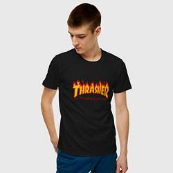 Футболка хлопковая мужская Thrasher Magazine: Flame Fire цвета черный — фото 2
