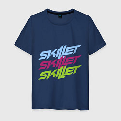 Мужская хлопковая футболка с принтом Skillet Tricolor, цвет: тёмно-синий, артикул: 10017327000001 — фото 1
