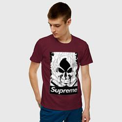 Футболка хлопковая мужская Supreme Skull цвета меланж-бордовый — фото 2
