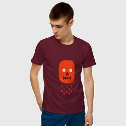 Футболка хлопковая мужская Кнопка психодел цвета меланж-бордовый — фото 2