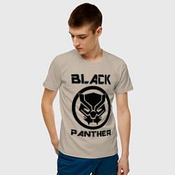 Футболка хлопковая мужская Черная пантера цвета миндальный — фото 2