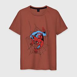 Мужская хлопковая футболка с принтом Spider-man comics, цвет: кирпичный, артикул: 10180525300001 — фото 1