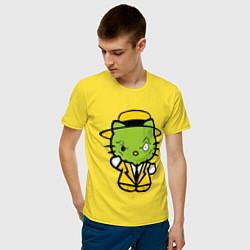 Футболка хлопковая мужская Kitty Mask цвета желтый — фото 2