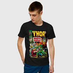 Футболка хлопковая мужская Thor vs Loki цвета черный — фото 2