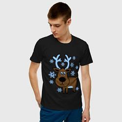 Футболка хлопковая мужская Олень и снежинки цвета черный — фото 2